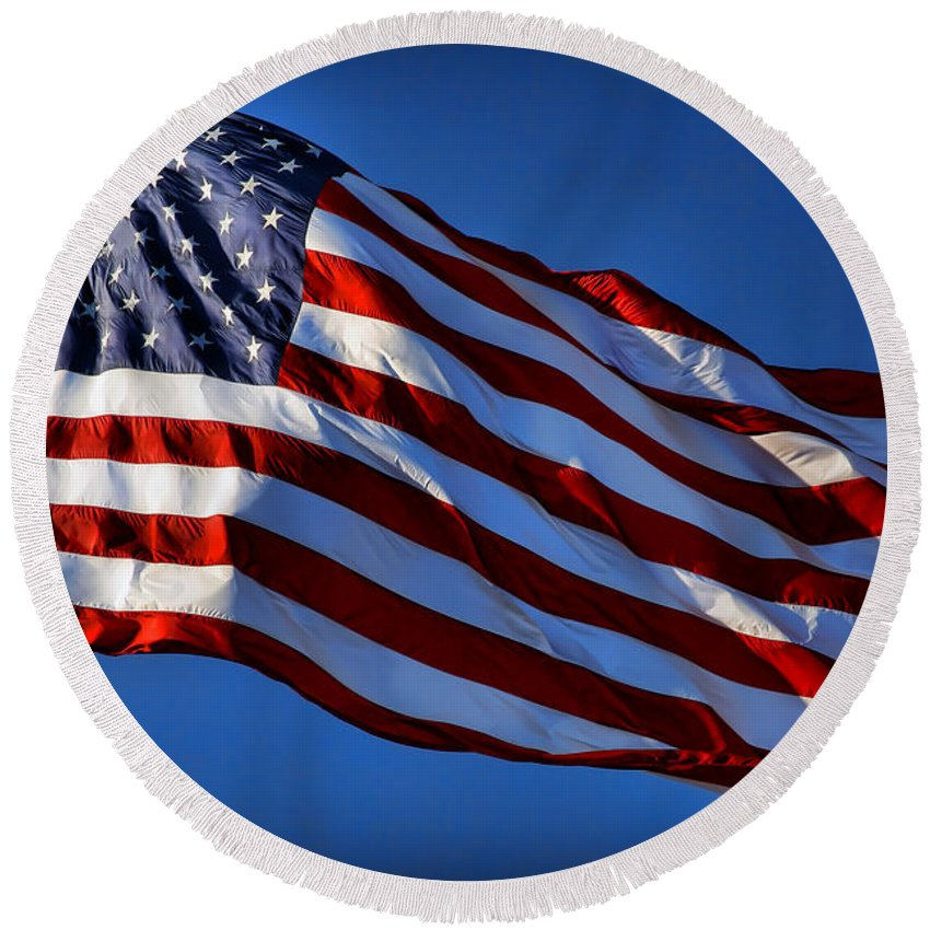 United Round Beach Towel featuring the photograph United States Of America - Usa Flag by Gordon Dean II