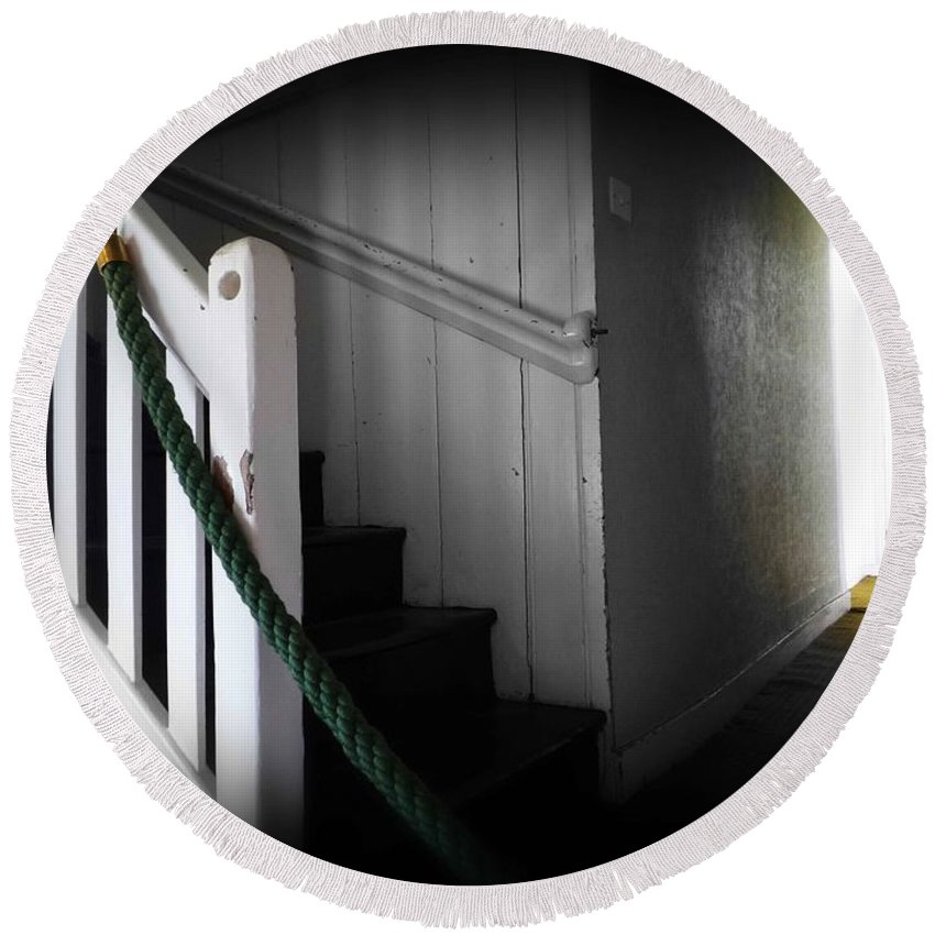 Stairs Round Beach Towel featuring the photograph Up The Wooden Hill by Charles Stuart