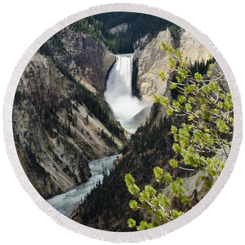 Yellowstone National Park Round Beach Towel featuring the photograph Upper Falls Of The Yellowstone River by Jon Berghoff