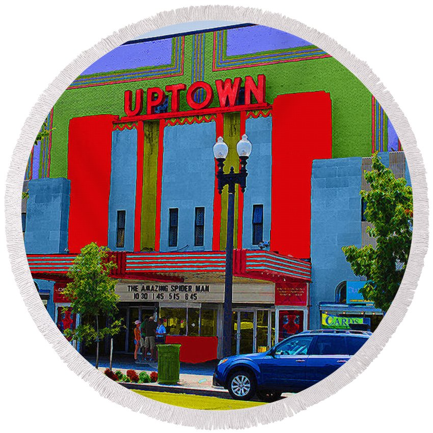 Uptown Round Beach Towel featuring the photograph Uptown Theatre by Jost Houk