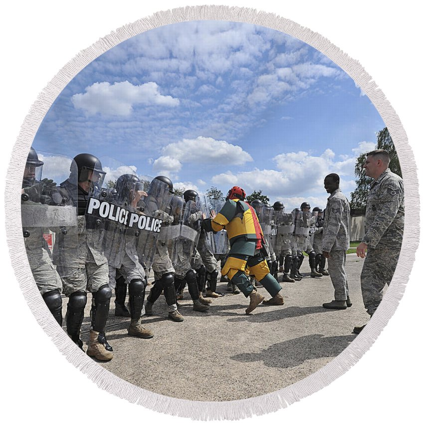 Violence Round Beach Towel featuring the photograph U.s. Air Force 86th Security Forces by Stocktrek Images