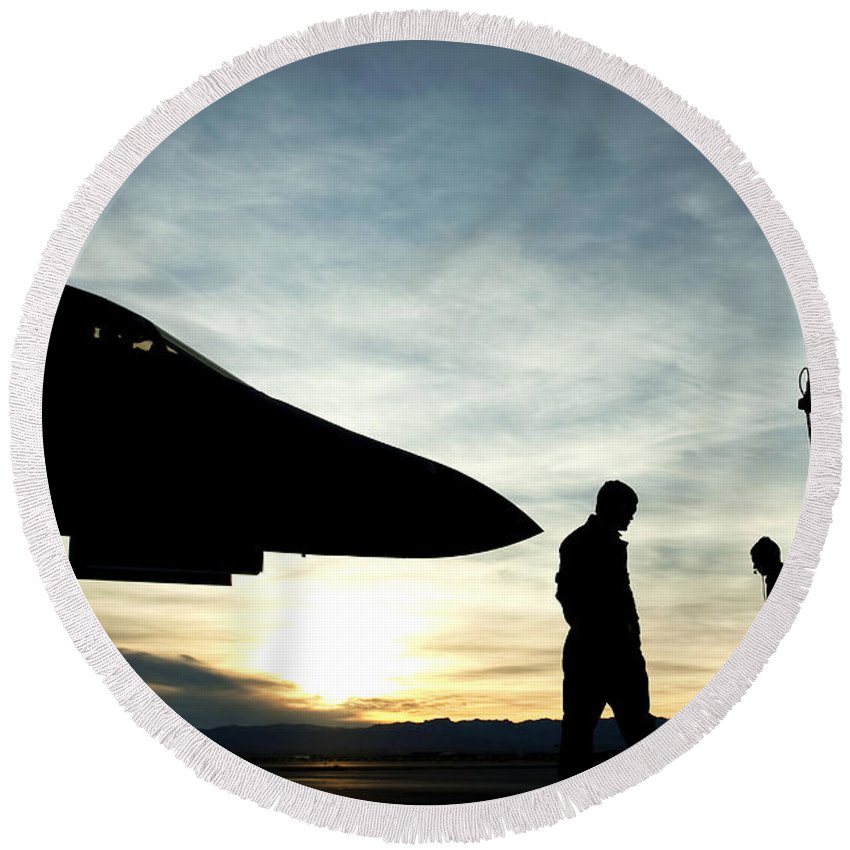 F-15 Round Beach Towel featuring the photograph U.s. Air Force Airmen Prepare by Stocktrek Images