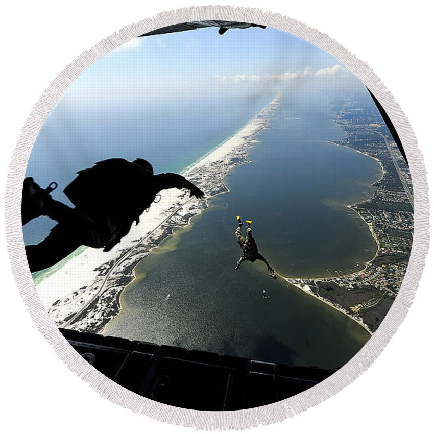 Florida Round Beach Towel featuring the photograph U.s. Airmen Jump Out Of A C-130 by Stocktrek Images