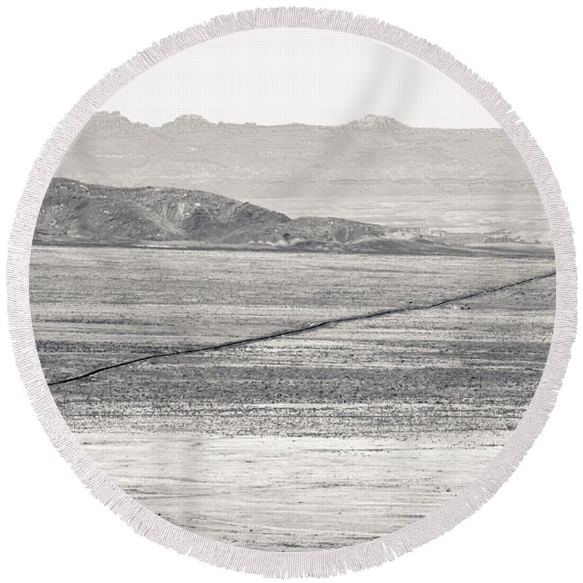 Nature Round Beach Towel featuring the photograph U.s. Alt-89 At Vermilion Cliffs Arizona Bw by Julie Niemela