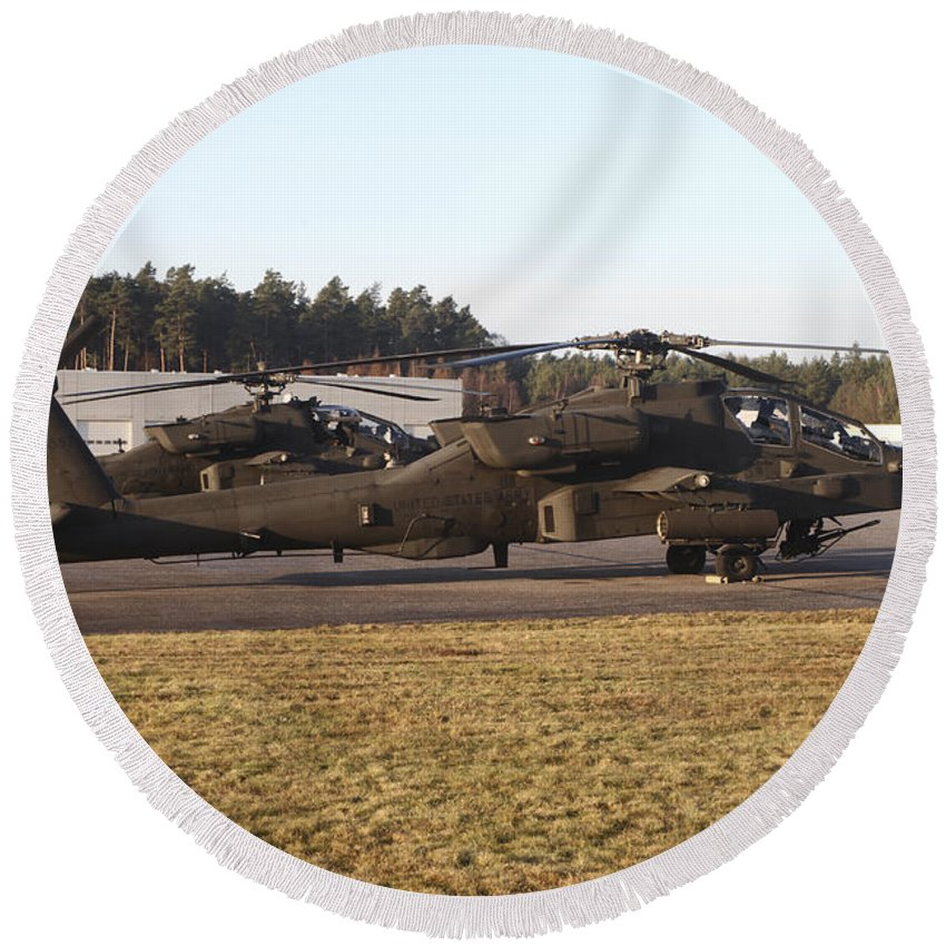 Germany Round Beach Towel featuring the photograph U.s. Army Ah-64d Apache Helicopters by Timm Ziegenthaler