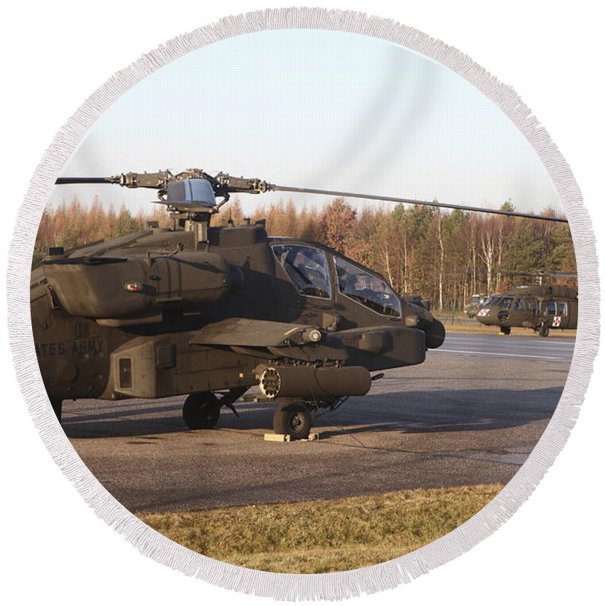 Germany Round Beach Towel featuring the photograph U.s. Army Helicopters At The Letzlingen by Timm Ziegenthaler