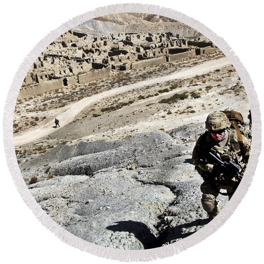 Operation Enduring Freedom Round Beach Towel featuring the photograph U.s. Army Soldiers And Afghan Border by Stocktrek Images