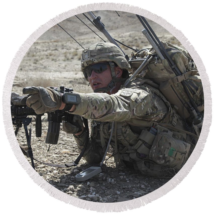 Operation Enduring Freedom Round Beach Towel featuring the photograph U.s. Army Soldiers Provide Security by Stocktrek Images
