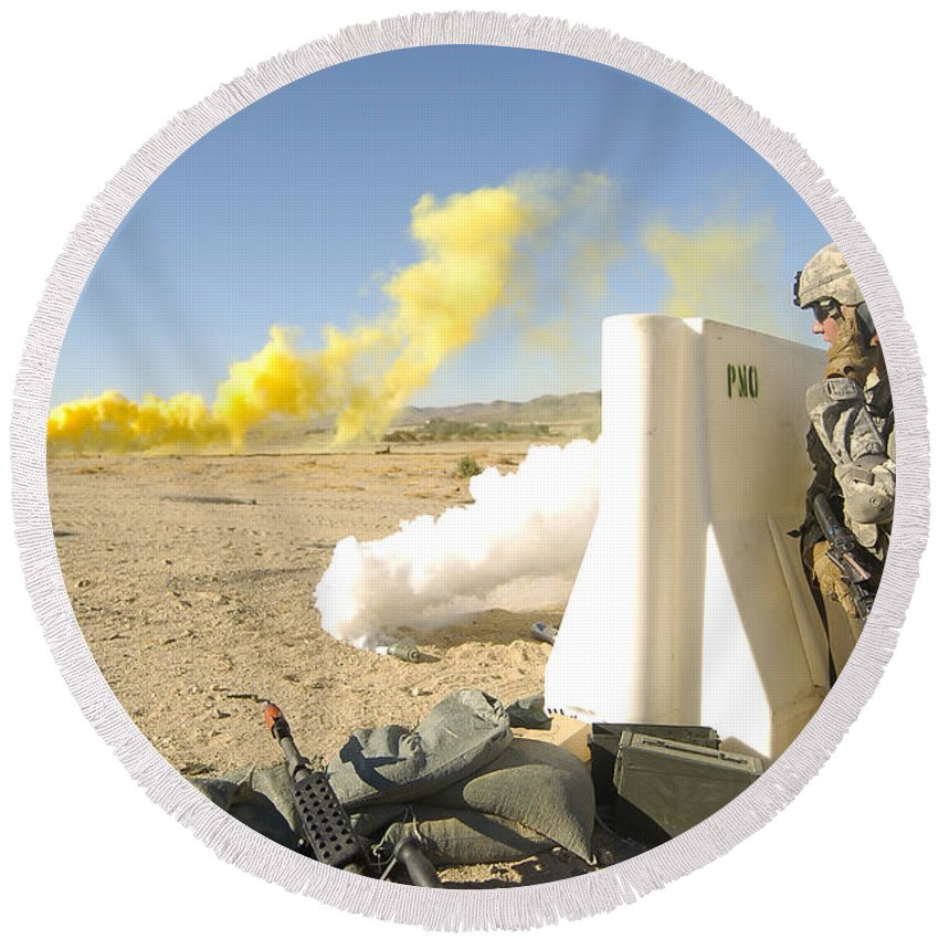 Communication Round Beach Towel featuring the photograph U.s. Army Specialist Calls In For An by Stocktrek Images