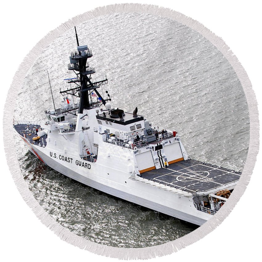 Coast Guard Round Beach Towel featuring the photograph U.s. Coast Guard Cutter Stratton by Stocktrek Images