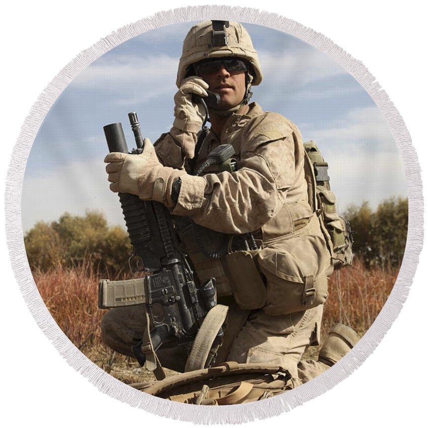 Soldier Round Beach Towel featuring the photograph U.s. Marine Communicates by Stocktrek Images