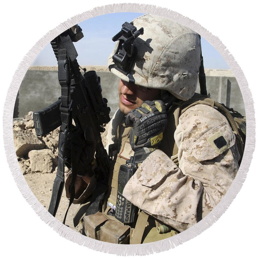 Middle East Round Beach Towel featuring the photograph U.s. Marine Communicates With Fellow by Stocktrek Images