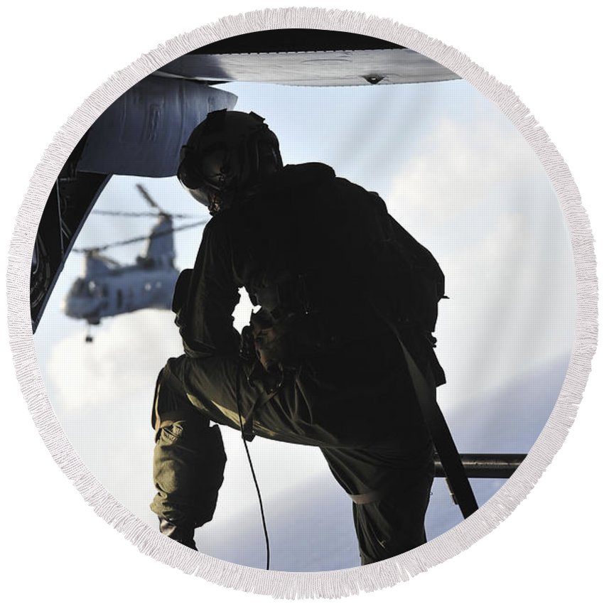 Marine Expeditionary Unit Round Beach Towel featuring the photograph U.s. Marine Looks Out The Back by Stocktrek Images
