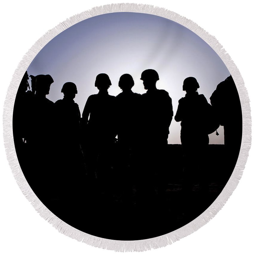 Afghanistan Round Beach Towel featuring the photograph U.s. Marines And Civilian Contractors by Stocktrek Images