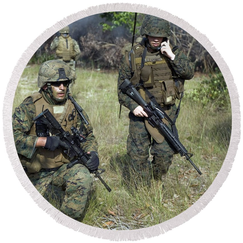 Exercise Carat Round Beach Towel featuring the photograph U.s. Marines Secure A Perimeter by Stocktrek Images