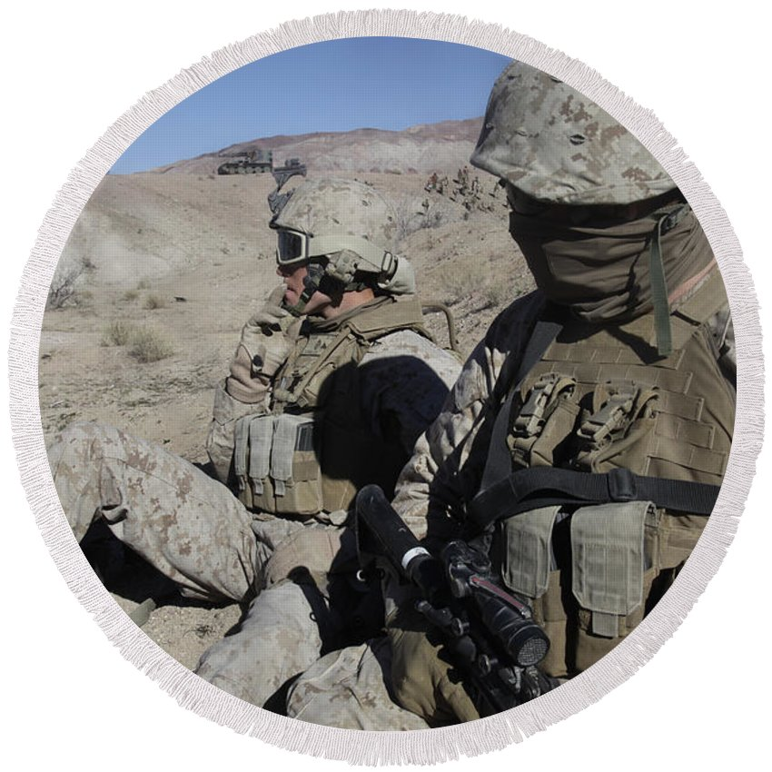 Us Marine Corps Round Beach Towel featuring the photograph U.s. Marines Take A Break by Stocktrek Images