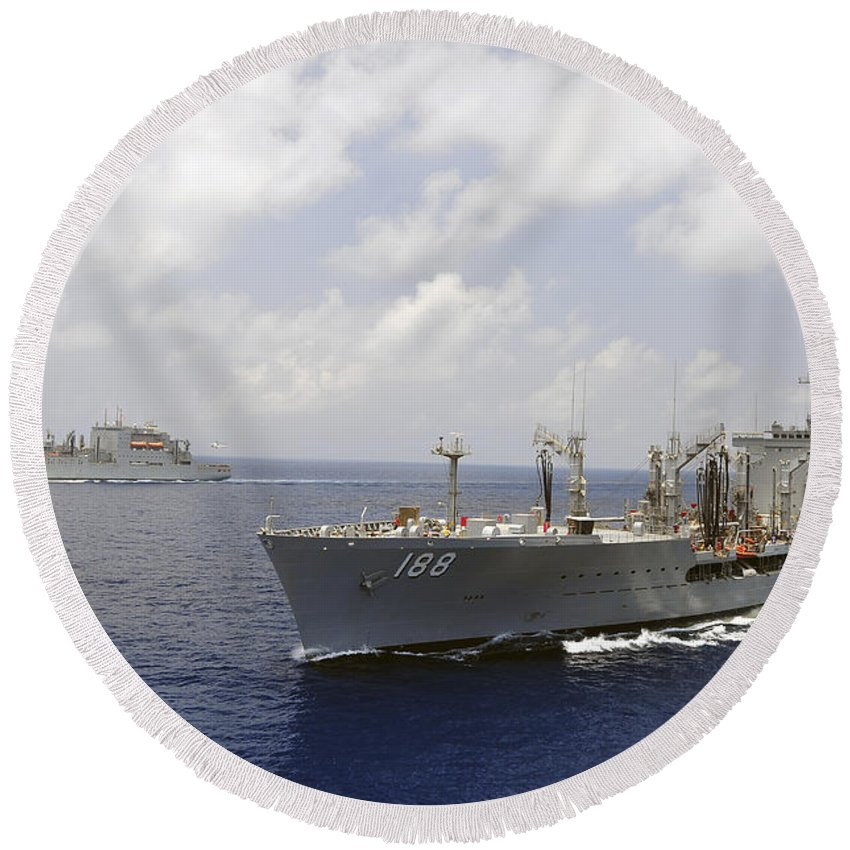 Military Sealift Command Round Beach Towel featuring the photograph Usns Alan Shepard And Usns Joshua by Stocktrek Images