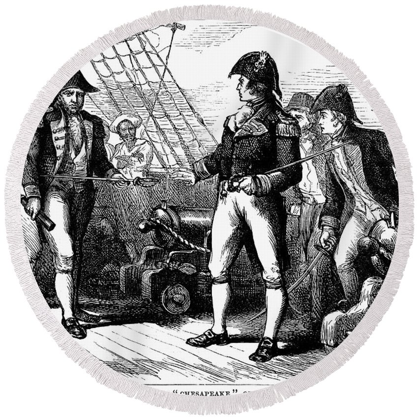 1807 Round Beach Towel featuring the photograph Uss Chesapeake, 1807 by Granger
