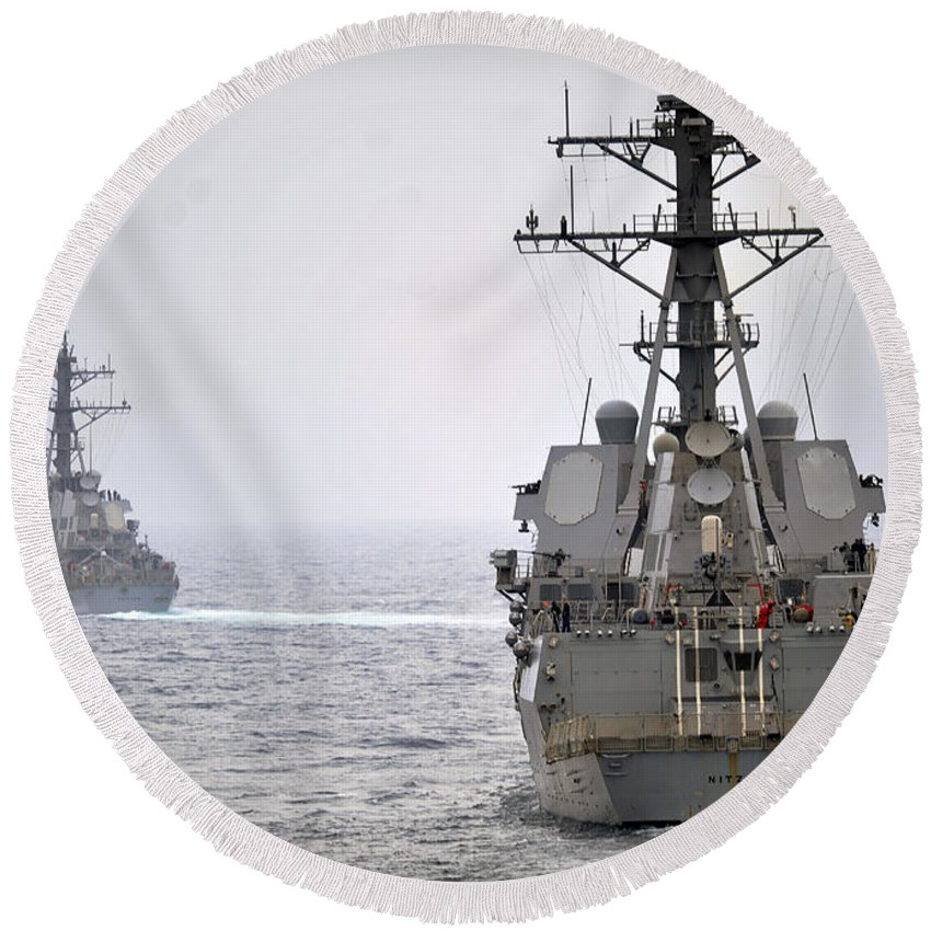 Navy Round Beach Towel featuring the photograph Uss Porter And Uss Nitze Participate by Stocktrek Images