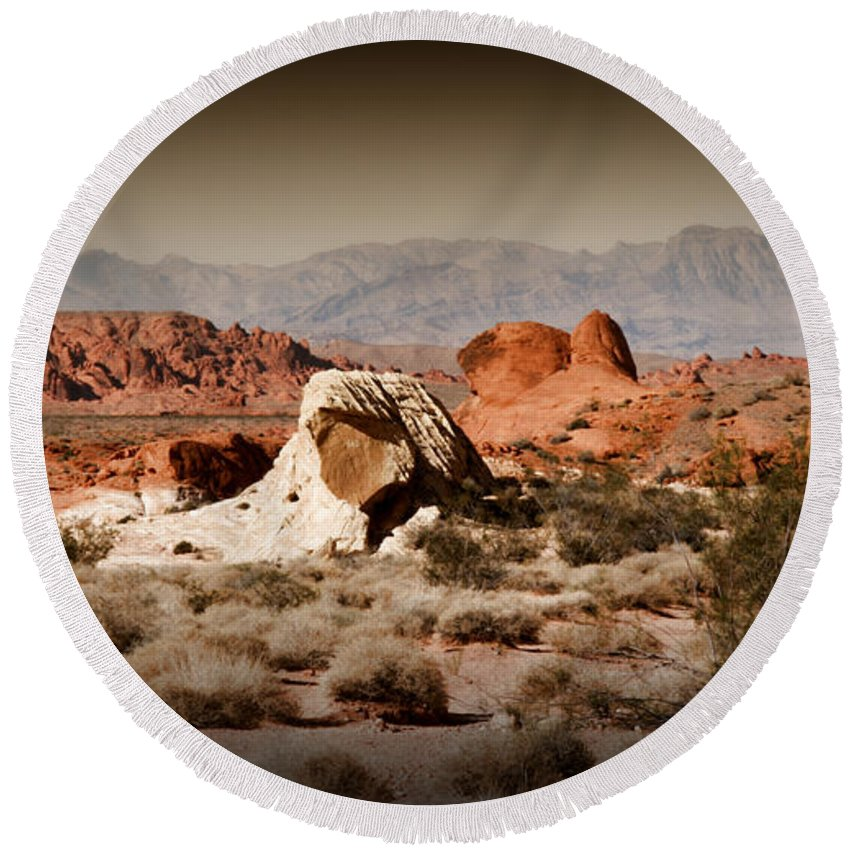 Valley Of Fire Round Beach Towel featuring the photograph Valley Of Fire by Chris Brannen