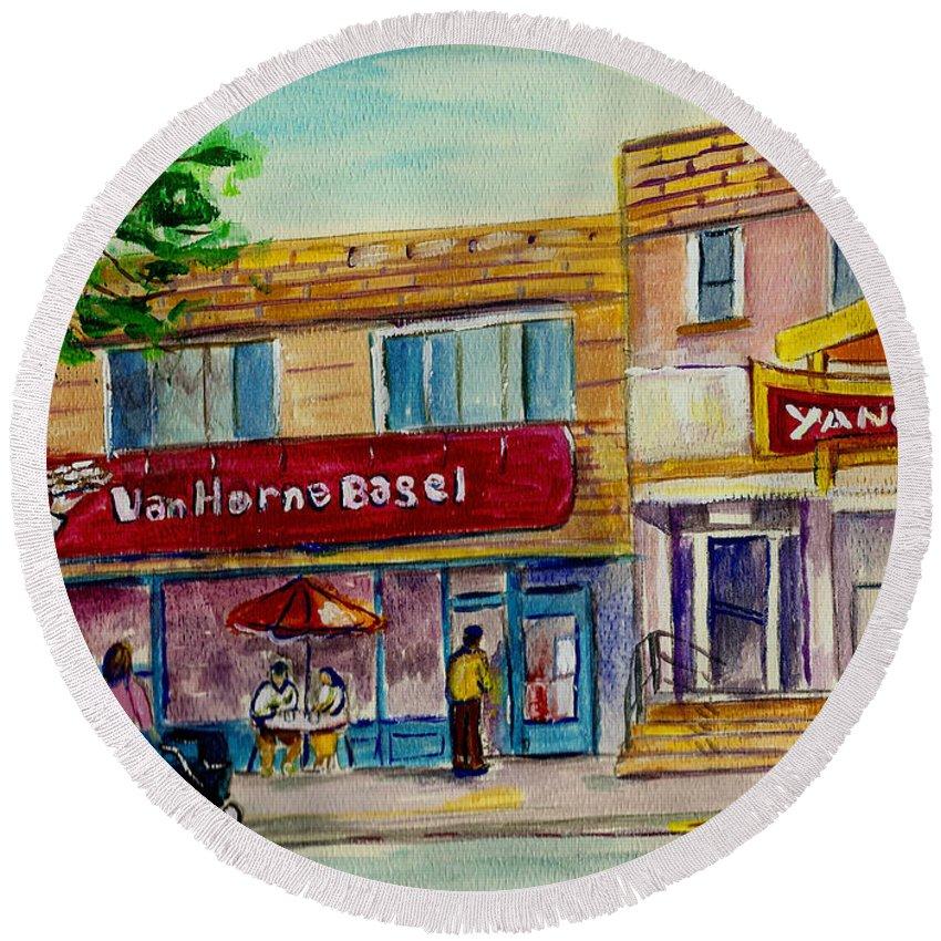 Round Beach Towel featuring the painting Van Horne Bagel And Yangtze Restaurant Sketch by Carole Spandau