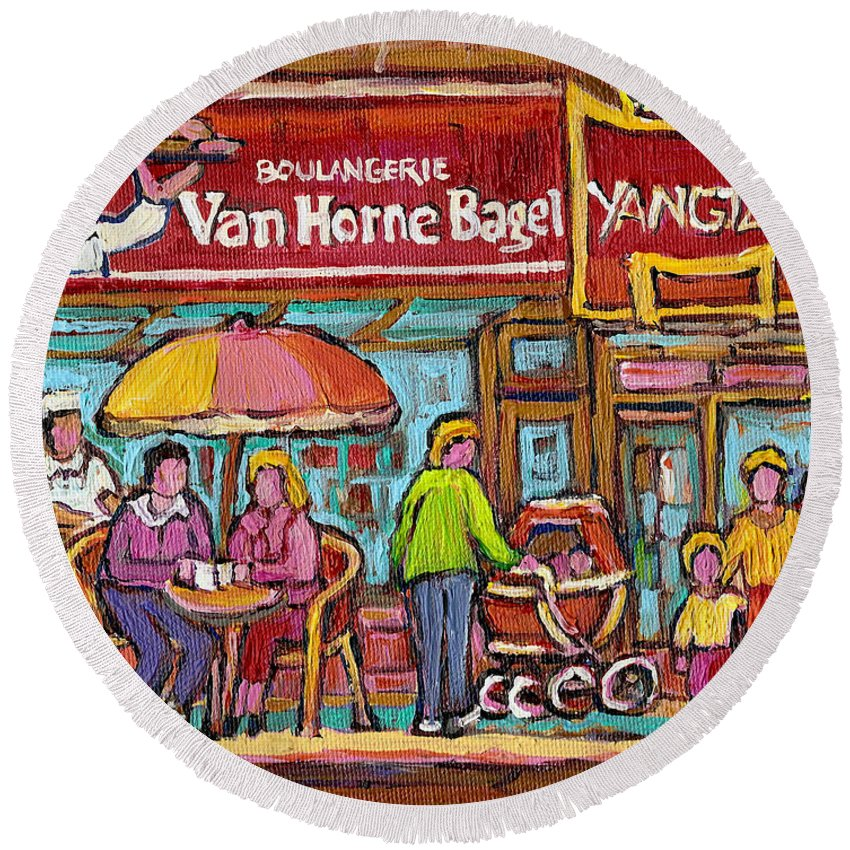 Van Horne Bagel Round Beach Towel featuring the painting Van Horne Bagel Next To Yangste Restaurant Montreal Streetscene by Carole Spandau