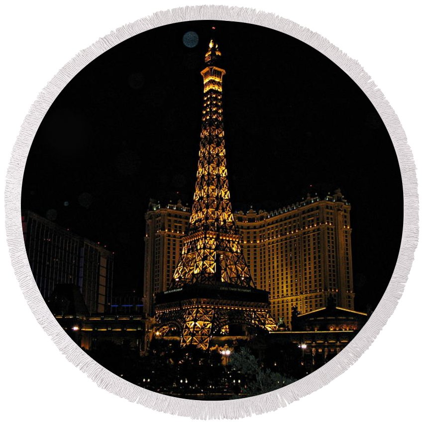 Las Vegas Round Beach Towel featuring the photograph Vegas by Kume Bryant