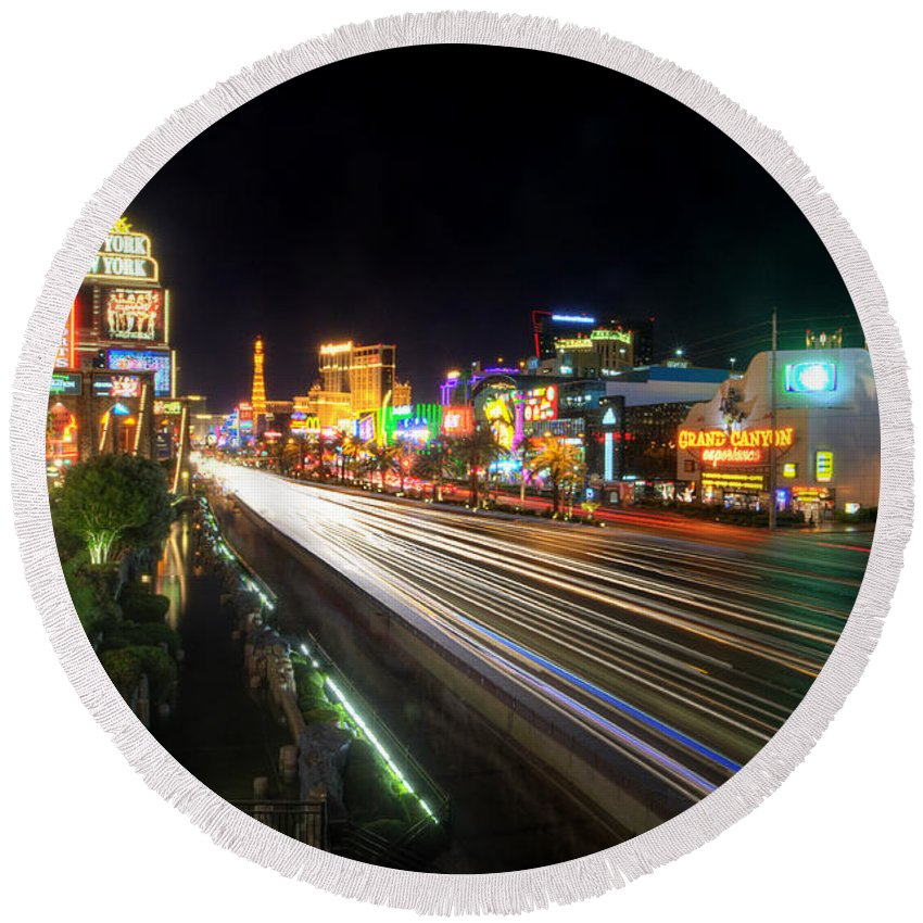 Art Round Beach Towel featuring the photograph Vegas Light Trails by Yhun Suarez