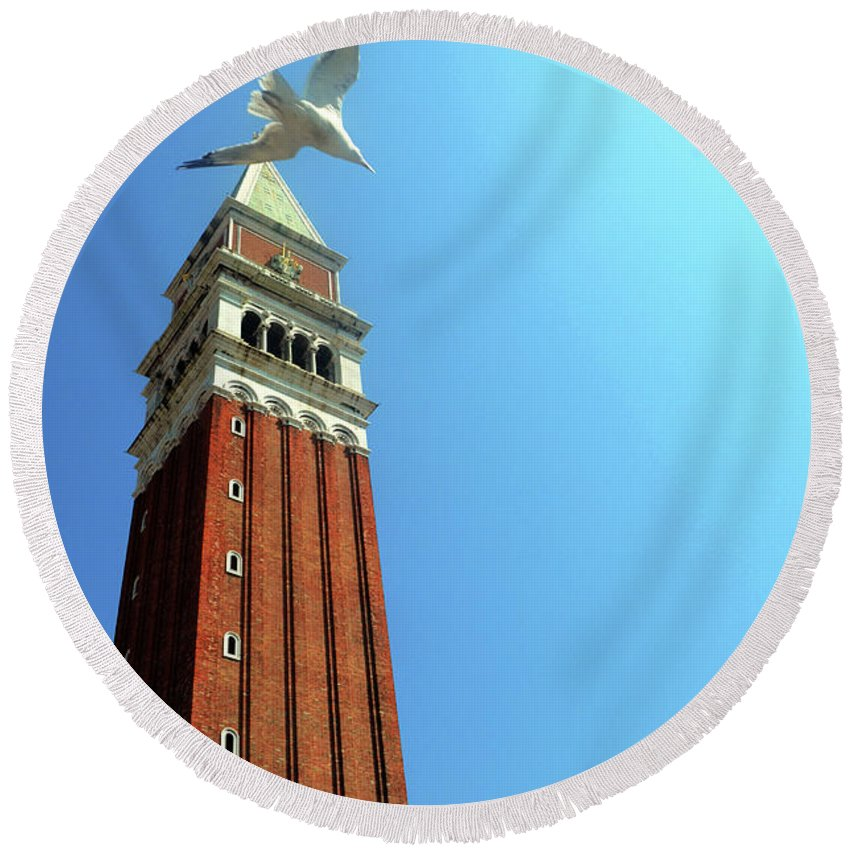 Venice Round Beach Towel featuring the photograph Venetian Fly-by by La Dolce Vita