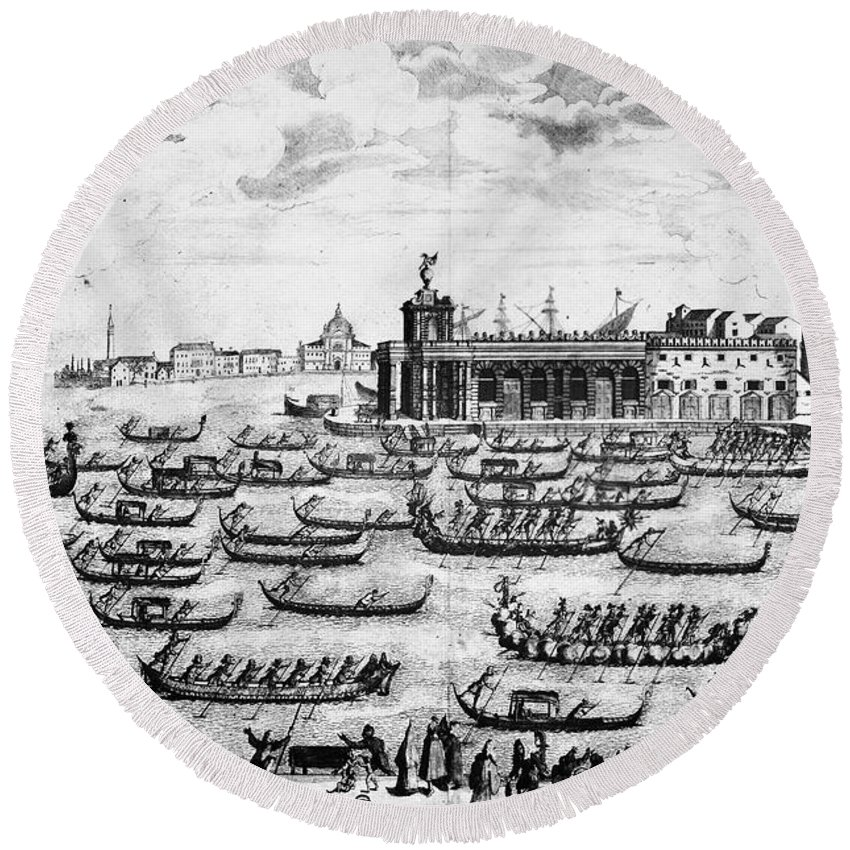 18th Century Round Beach Towel featuring the photograph Venice: Grand Canal by Granger