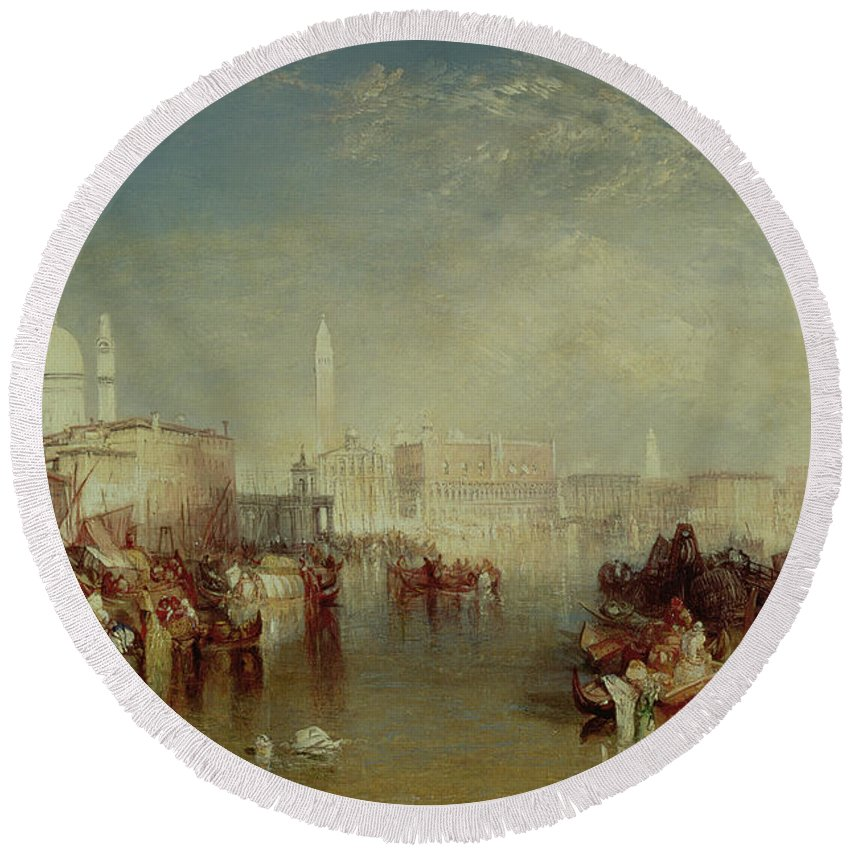 Italy; Salute; San Marco; St Marks; Doges Palace; Veneto; Landscape Round Beach Towel featuring the painting Venice by Joseph Mallord William Turner