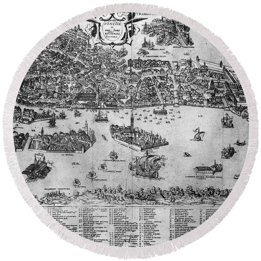 1566 Round Beach Towel featuring the photograph Venice: Map, C1566 by Granger