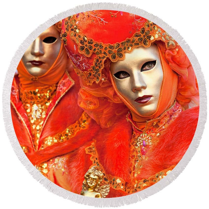 Carnaval Round Beach Towel featuring the photograph Venice Masks by Luciano Mortula