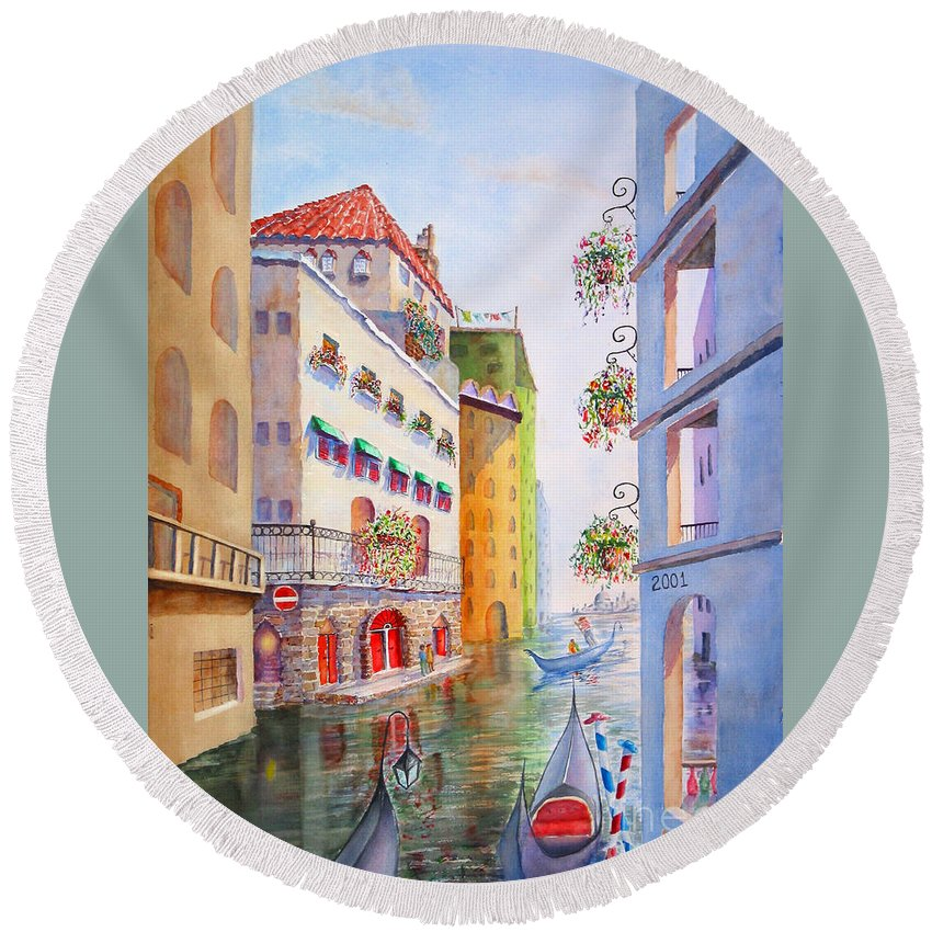 Round Beach Towel featuring the painting Venice by Mohamed Hirji