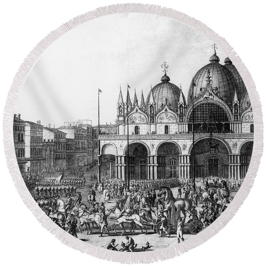 1797 Round Beach Towel featuring the photograph Venice: Saint Marks, 1797 by Granger