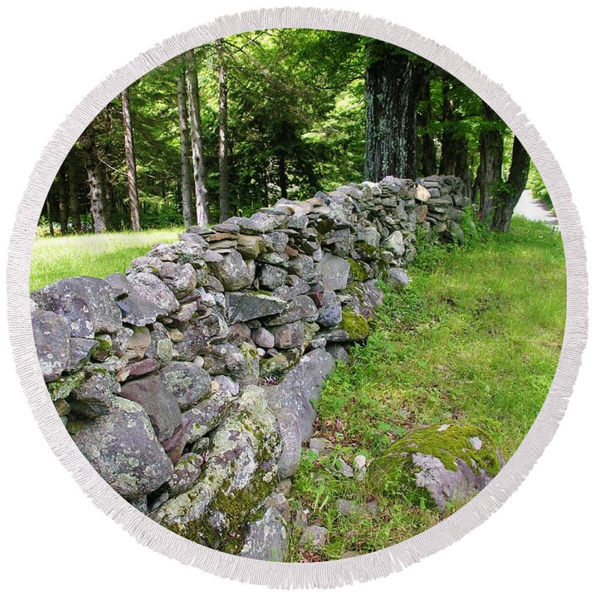 Stone Wall Round Beach Towel featuring the photograph Vermont Stone Wall by Sherman Perry