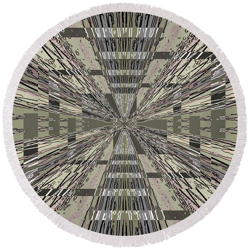 Abstract Round Beach Towel featuring the digital art Verve 9 by Tim Allen