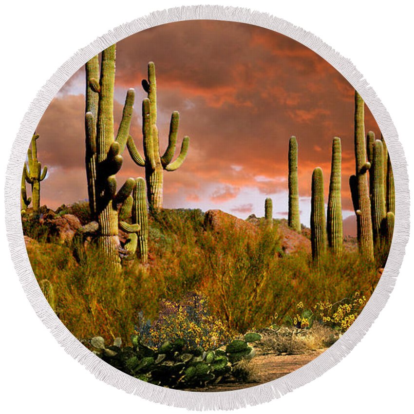 Arizona Round Beach Towel featuring the photograph Via Del Oeste by Ciro Verdi