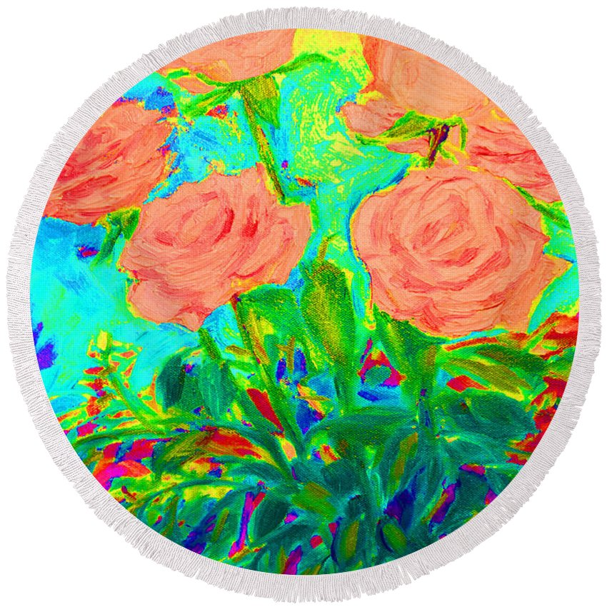 Roses Round Beach Towel featuring the painting Vibrant Roses by Karen Francis