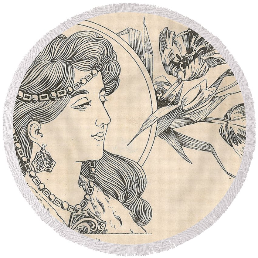 Victorian Woman Round Beach Towel featuring the digital art Victorian Lady - 1 by Georgia Fowler