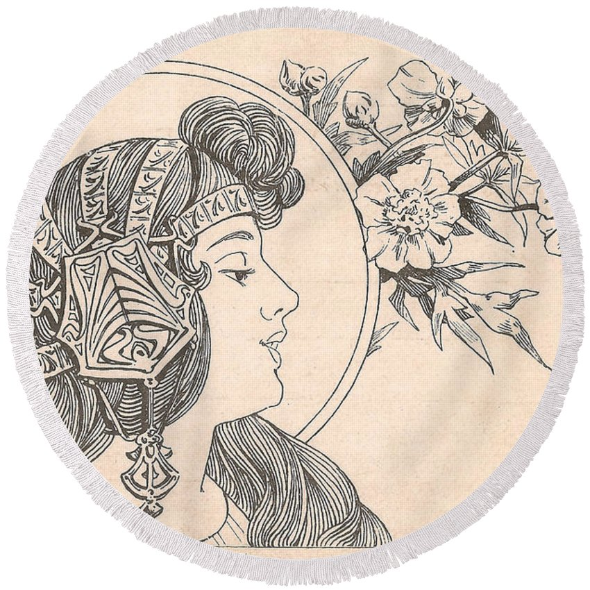 Victorian Woman Round Beach Towel featuring the digital art Victorian Lady - 3 by Georgia Fowler