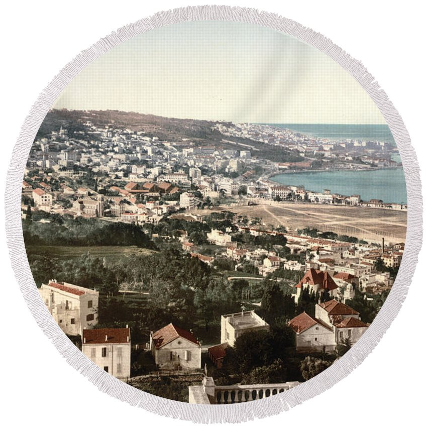 Mustapha Round Beach Towel featuring the photograph View From Mustapha - Algiers Algeria by International Images