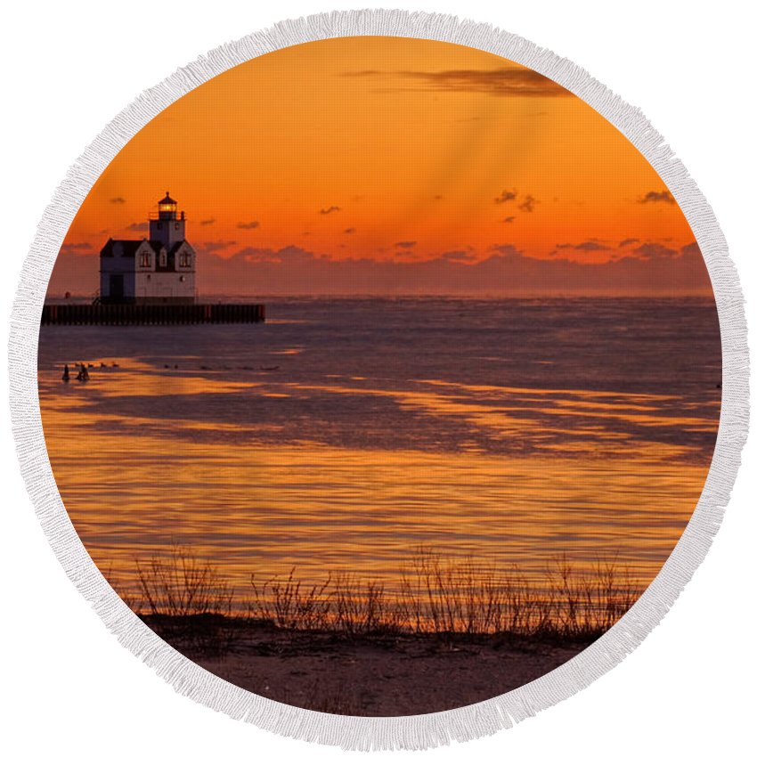 Lighthouse Round Beach Towel featuring the photograph View From Shore by Bill Pevlor