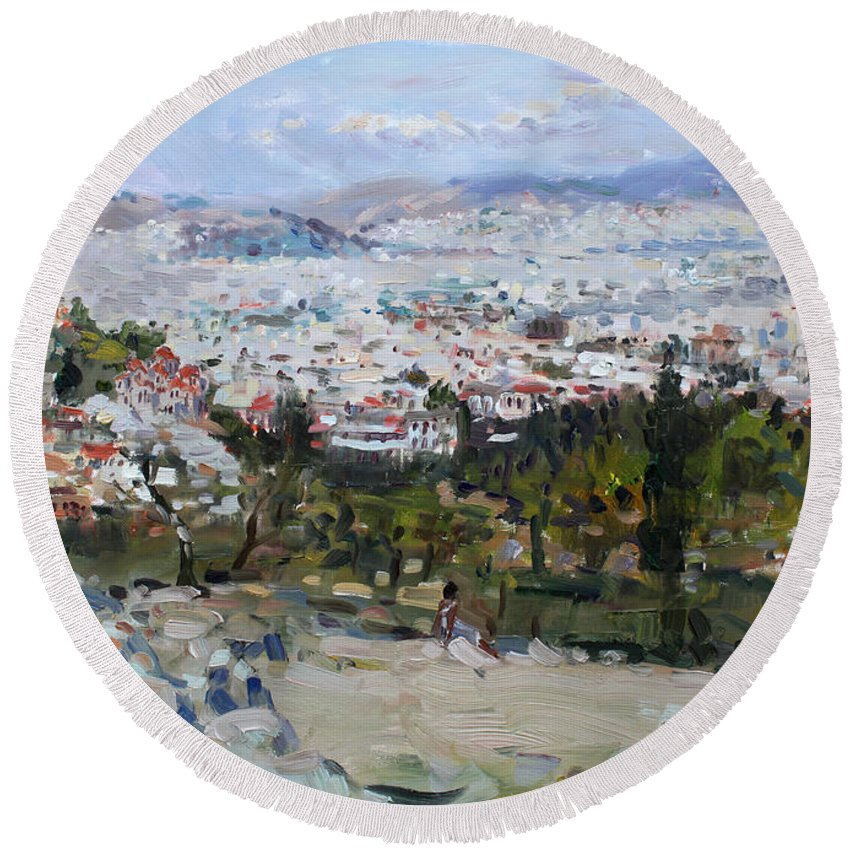 Athens Round Beach Towel featuring the painting View Of Athens From Acropolis by Ylli Haruni