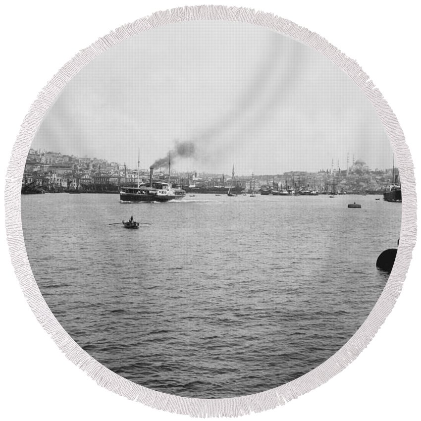 Galata Round Beach Towel featuring the photograph View Of Galata And Istanbul - Between 1880-1893 by International Images