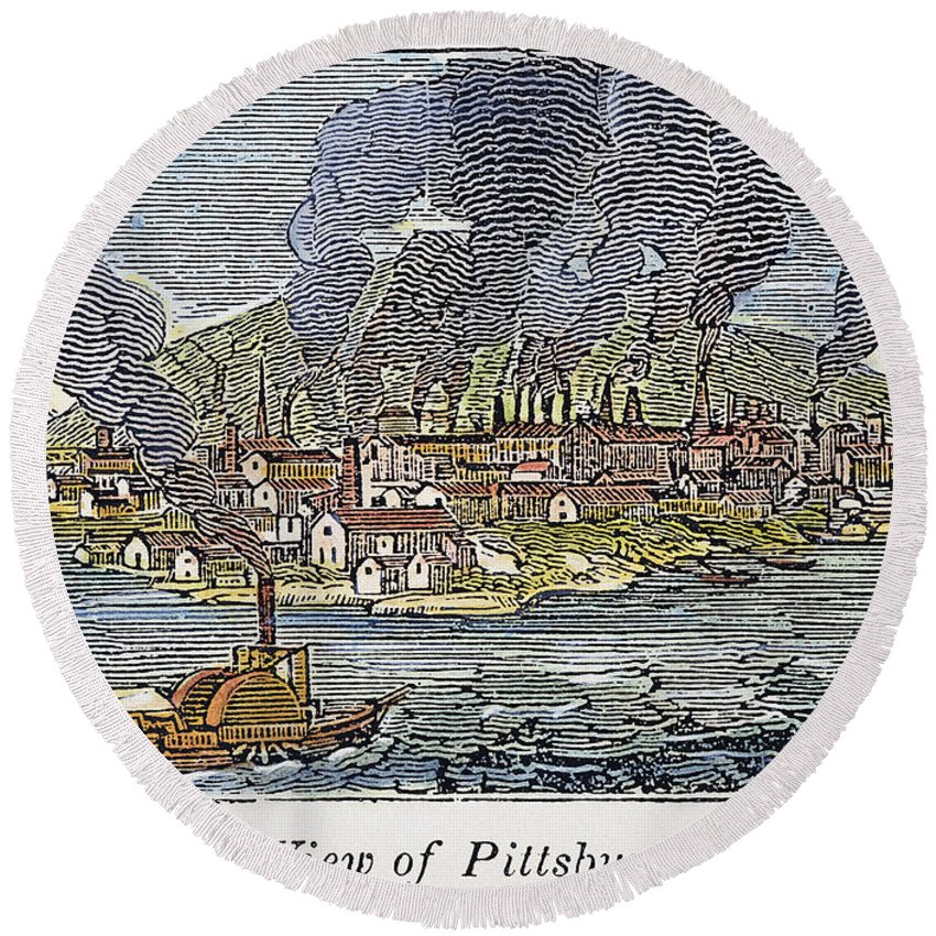1836 Round Beach Towel featuring the photograph View Of Pittsburgh, 1836 by Granger