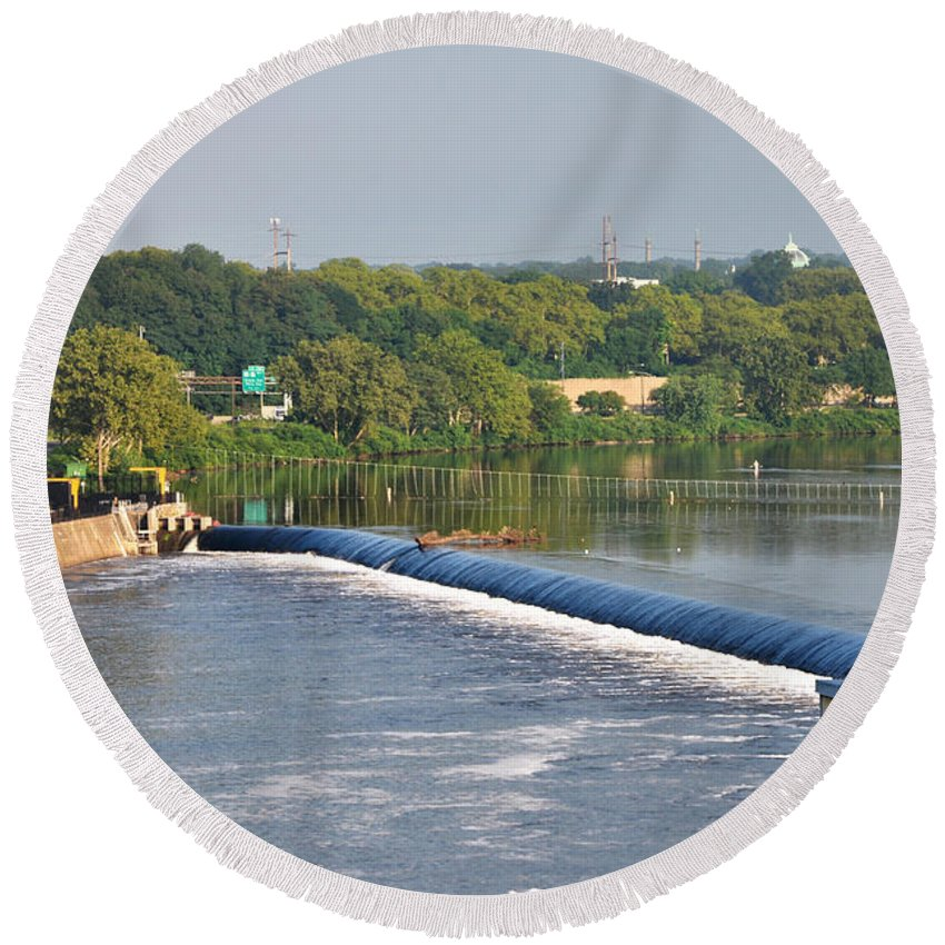 View Of The Fairmount Dam Round Beach Towel featuring the photograph View Of The Fairmount Dam by Bill Cannon