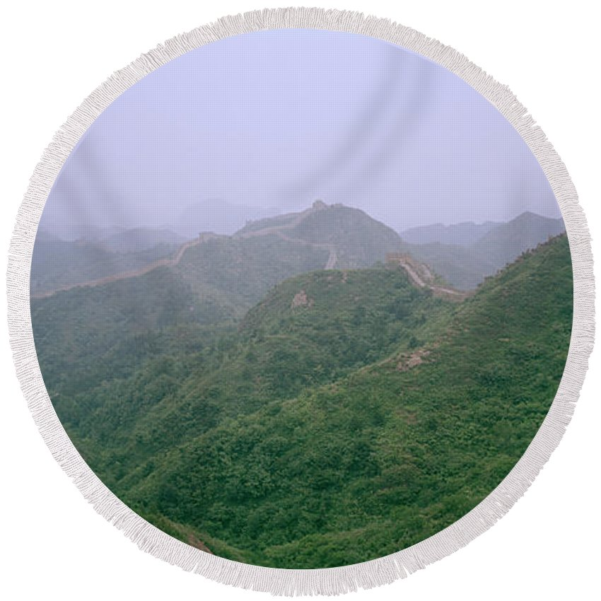 China Round Beach Towel featuring the photograph View Of The Great Wall Of China by Shaun Higson