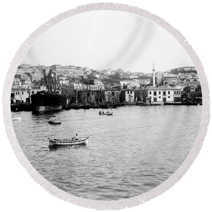 Istanbul Round Beach Towel featuring the photograph View Of Tophane - Istanbul - From The Sea - Turkey by International Images