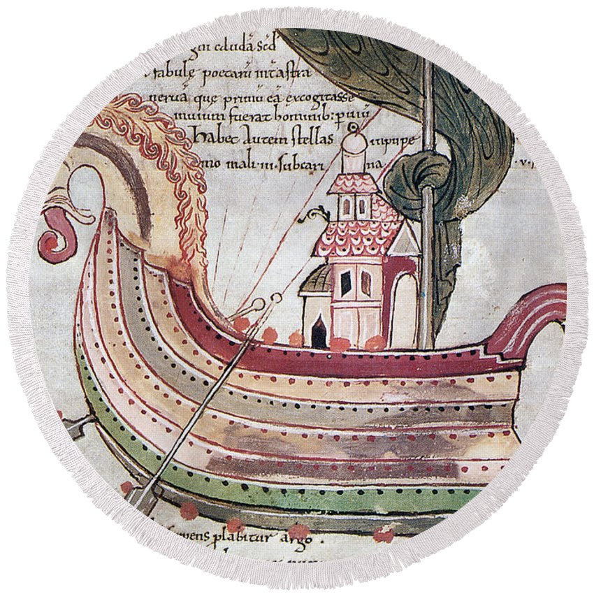 10th Century Round Beach Towel featuring the drawing Viking Ship - 10th Century by Granger
